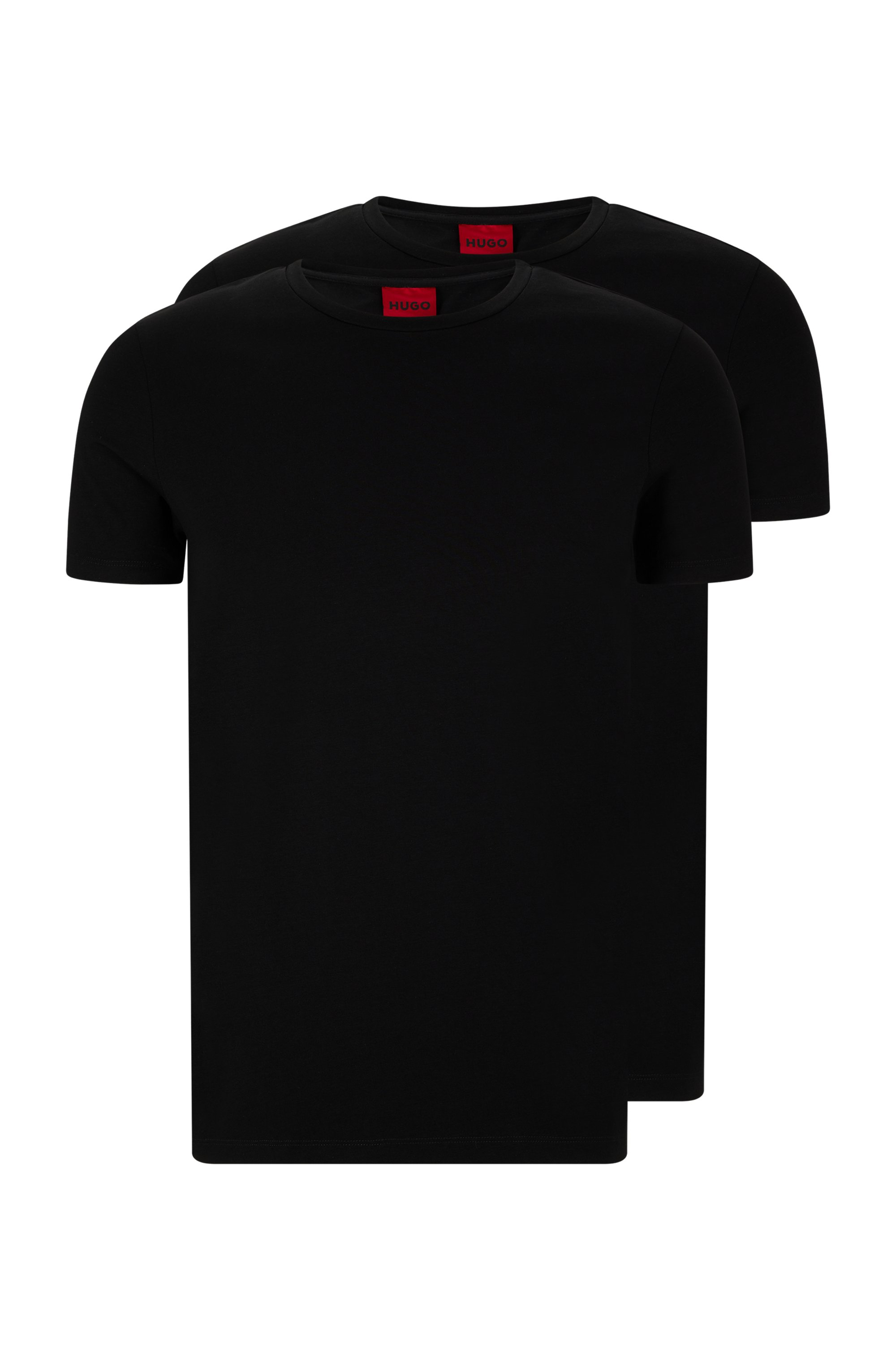 Two-pack of crew-neck T-shirts in stretch-cotton jersey, Black