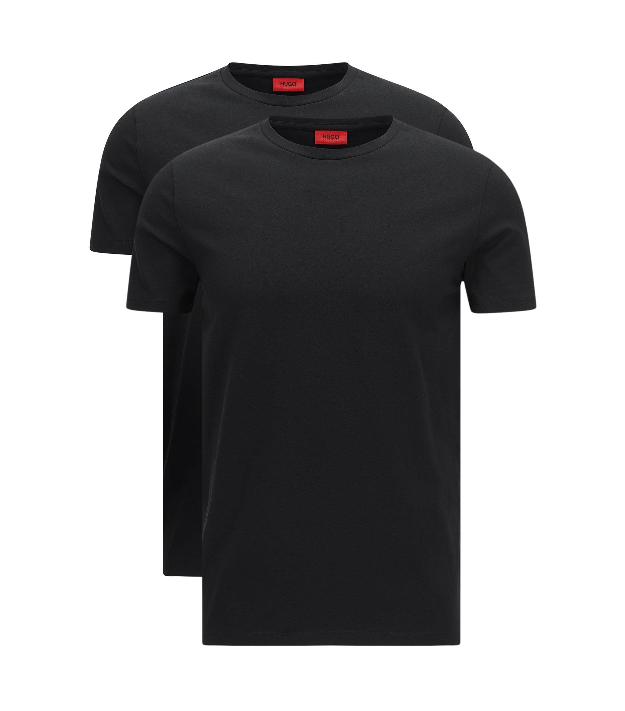 T-shirt a girocollo in cotone elasticizzato HUGO Uomo in confezione da due, Nero