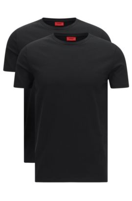 Two-pack of crew neck T-shirts in stretch cotton by HUGO Man, Black