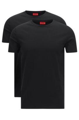 Lot de deux t-shirts HUGO Homme à col ras-du-cou en coton stretch, Noir