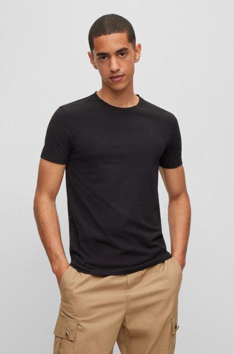 Lot de deux t-shirts à col rond en jersey de coton stretch, Noir