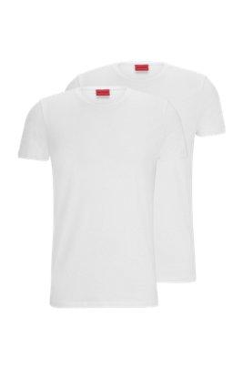 Lot de deux t-shirts à col rond en jersey de coton stretch, Blanc