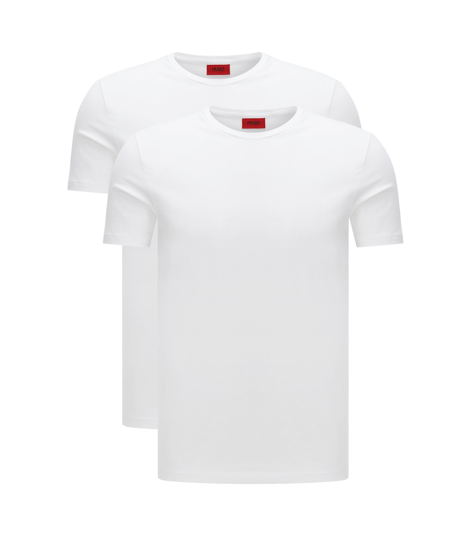 Two-pack of crew neck T-shirts in stretch cotton by HUGO Man, White