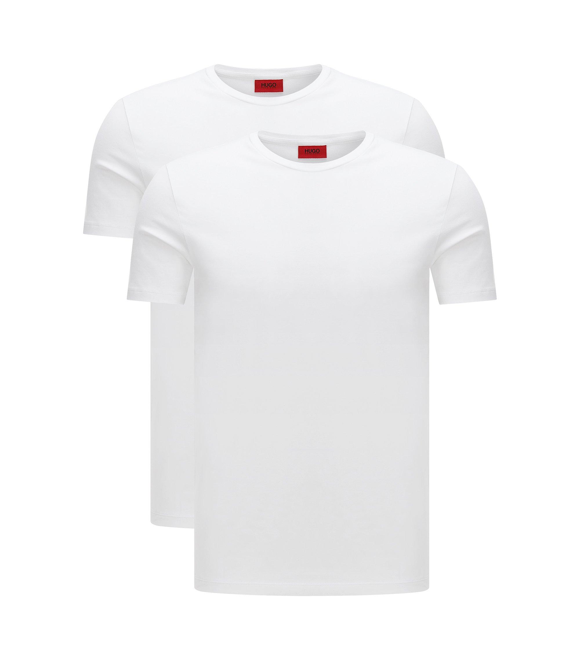 T-shirt a girocollo in cotone elasticizzato HUGO Uomo in confezione da due, Bianco