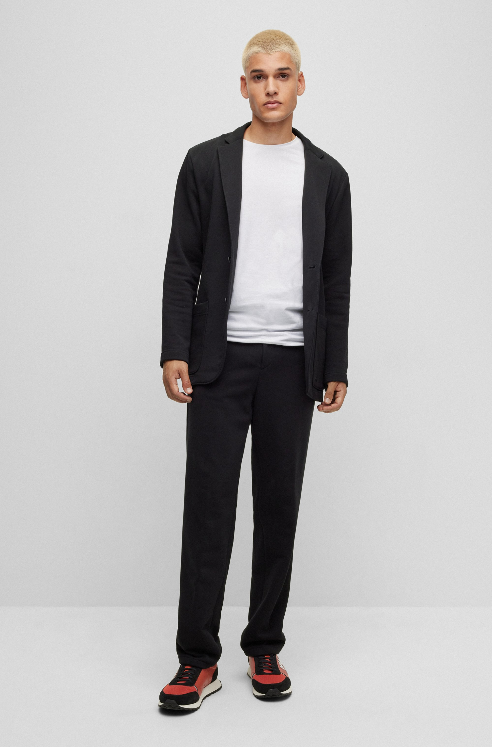 T-shirt a girocollo in jersey di cotone elasticizzato in confezione da due