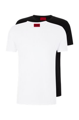 Two-pack of crew-neck T-shirts in stretch-cotton jersey, White
