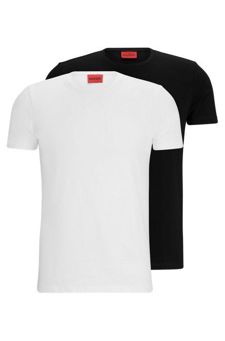 T-Shirts aus Stretch-Baumwolle im Doppelpack, Weiß