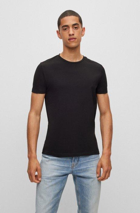 Zweier-Pack T-Shirts aus elastischem Baumwoll-Jersey mit Rundhalsausschnitt, Weiß