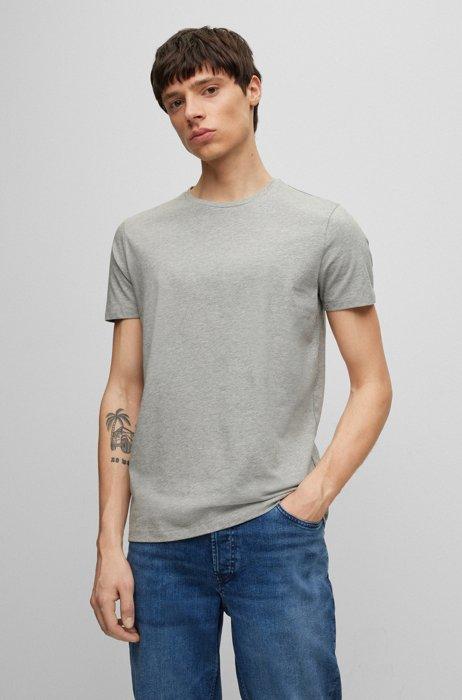 Zweier-Pack T-Shirts aus elastischem Baumwoll-Jersey mit Rundhalsausschnitt, Hellgrau