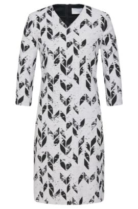 Jacquard dress in new-wool blend with all-over pattern: 'Disuna', Patterned