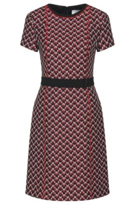 Patterned dress in jacquard quality: 'Dulana', Patterned