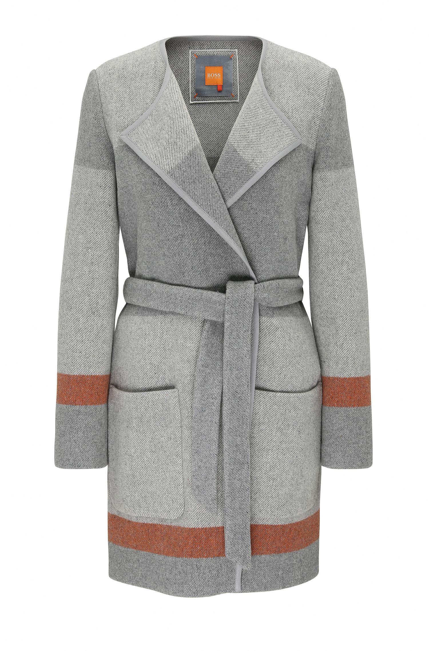 Manteau peignoir Relaxed Fit en laine mélangée à rayures: «Origa»