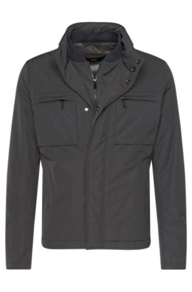 Jacket in a water-repellent material blend with a hood in the collar: 'Calico', Open Grey