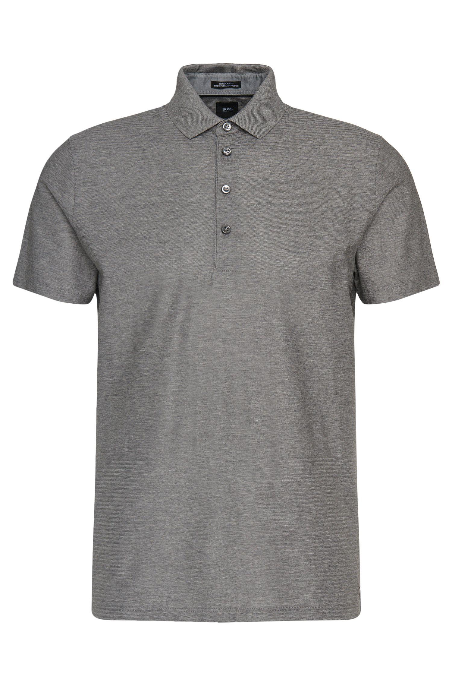 Regular-Fit Tailored Poloshirt aus Baumwolle mit grafischem Struktur-Muster: 'T-Perry 10'