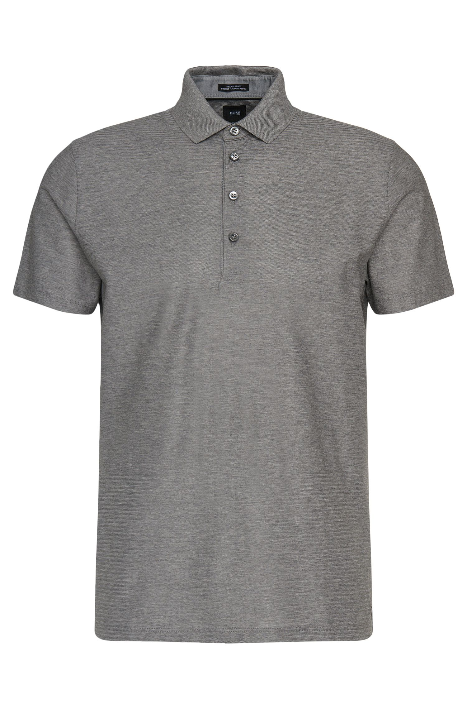 Regular-fit Tailored polo shirt in cotton with graphic texture-mix: 'T-Perry 10'