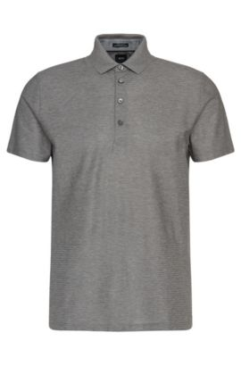 Regular-fit Tailored polo shirt in cotton with graphic texture-mix: 'T-Perry 10', Grey