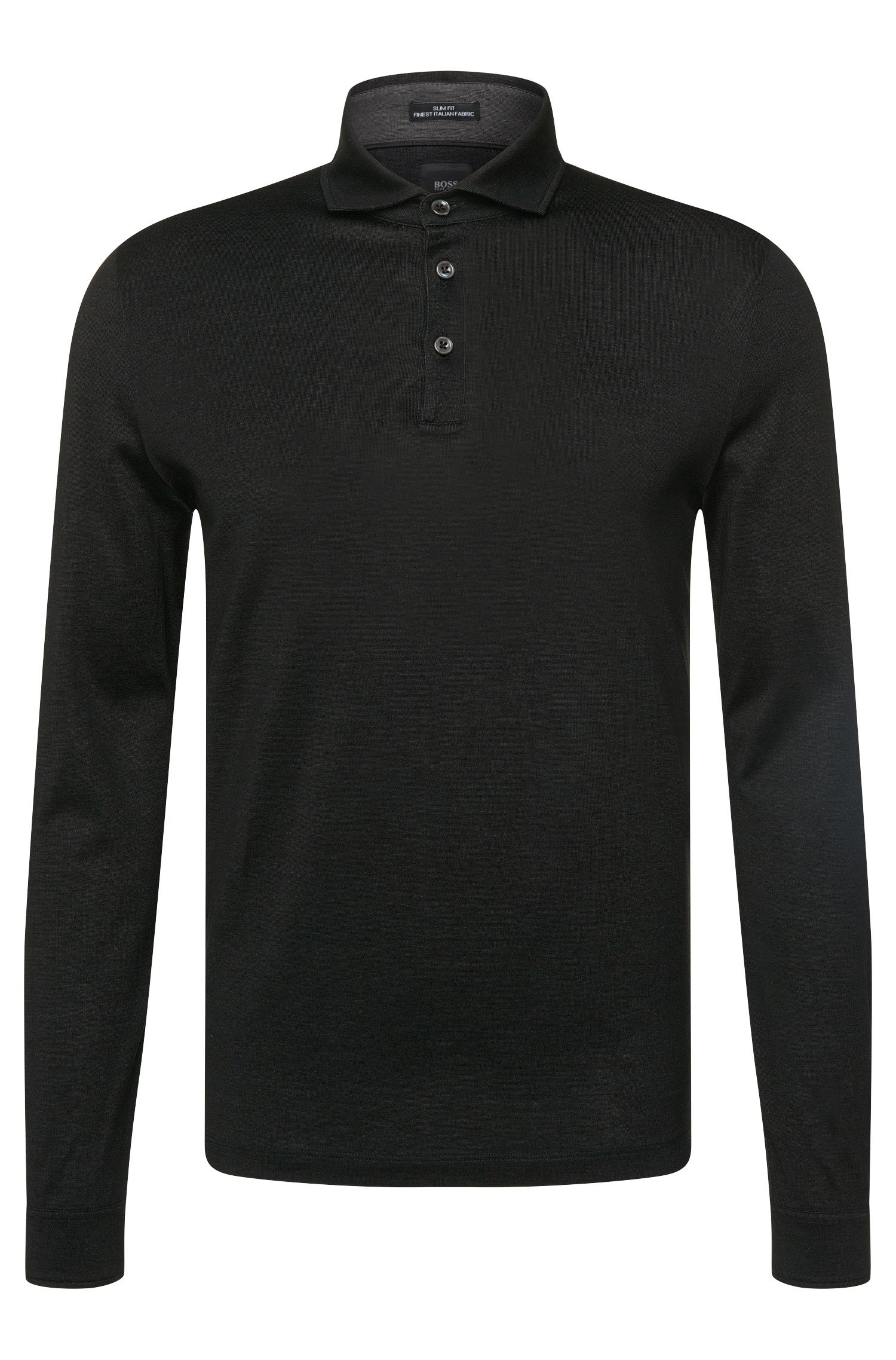 Slim-Fit Tailored Longsleeve-Poloshirt aus Baumwolle: 'T-Morrison 08'