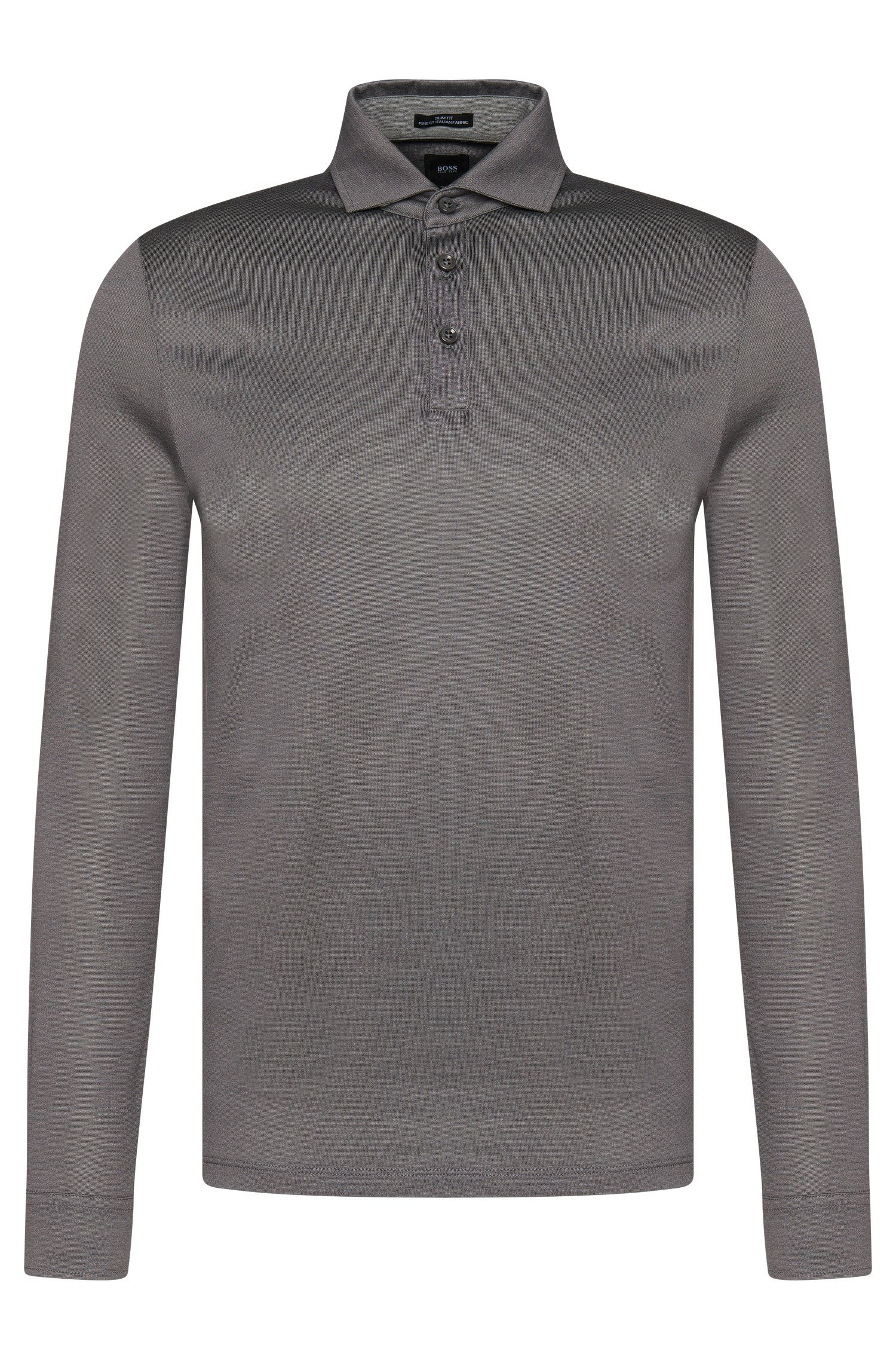 Polo à manches longues Slim Fit Tailored en coton : « T-Morrison 08 »
