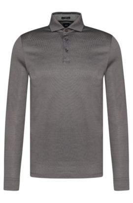 Polo à manches longues Slim Fit Tailored en coton : « T-Morrison 08 », Gris chiné