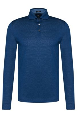 Slim-fit Tailored long-sleeved polo shirt in cotton: 'T-Morrison 08', Dark Blue
