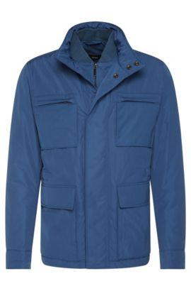 Water-repellent jacket with stowable hood: 'Calhoun', Open Blue
