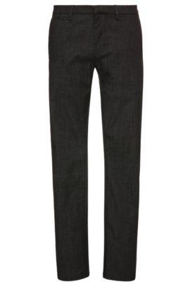Slim-fit chinos in stretch cotton blend: 'Schino-Slim3-W', Black