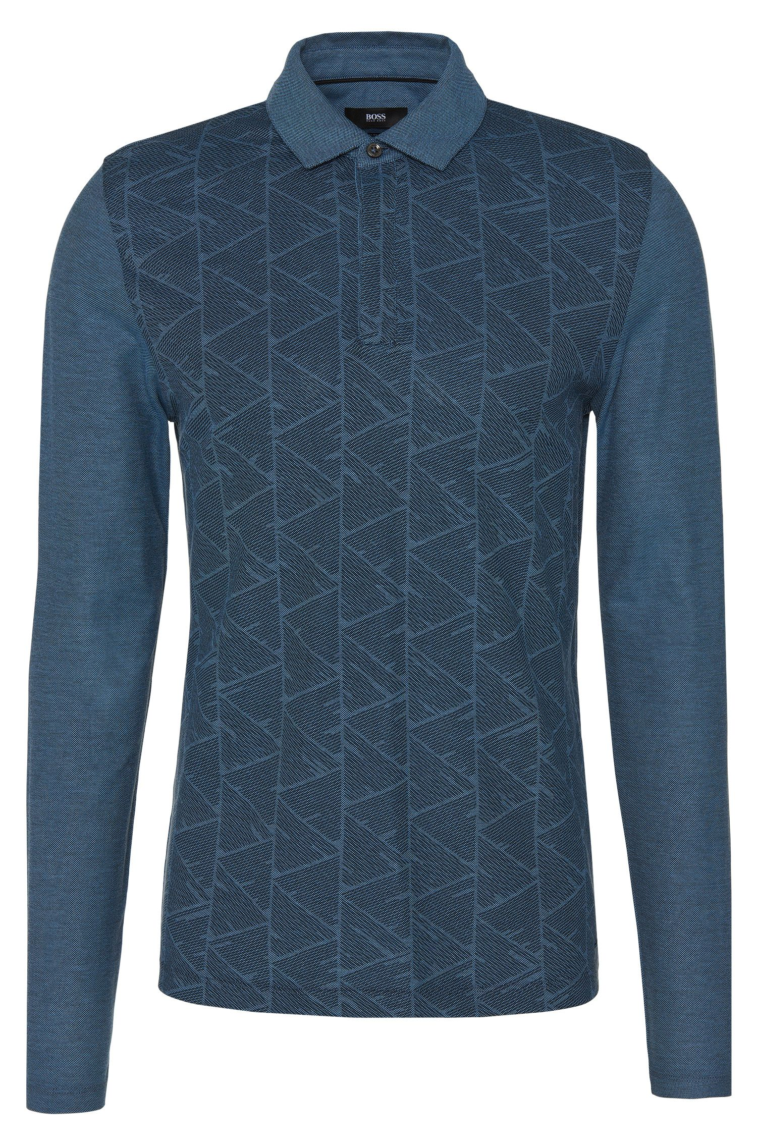 Slim-fit long-sleeved polo shirt in cotton with a graphic pattern: 'Prall 07'