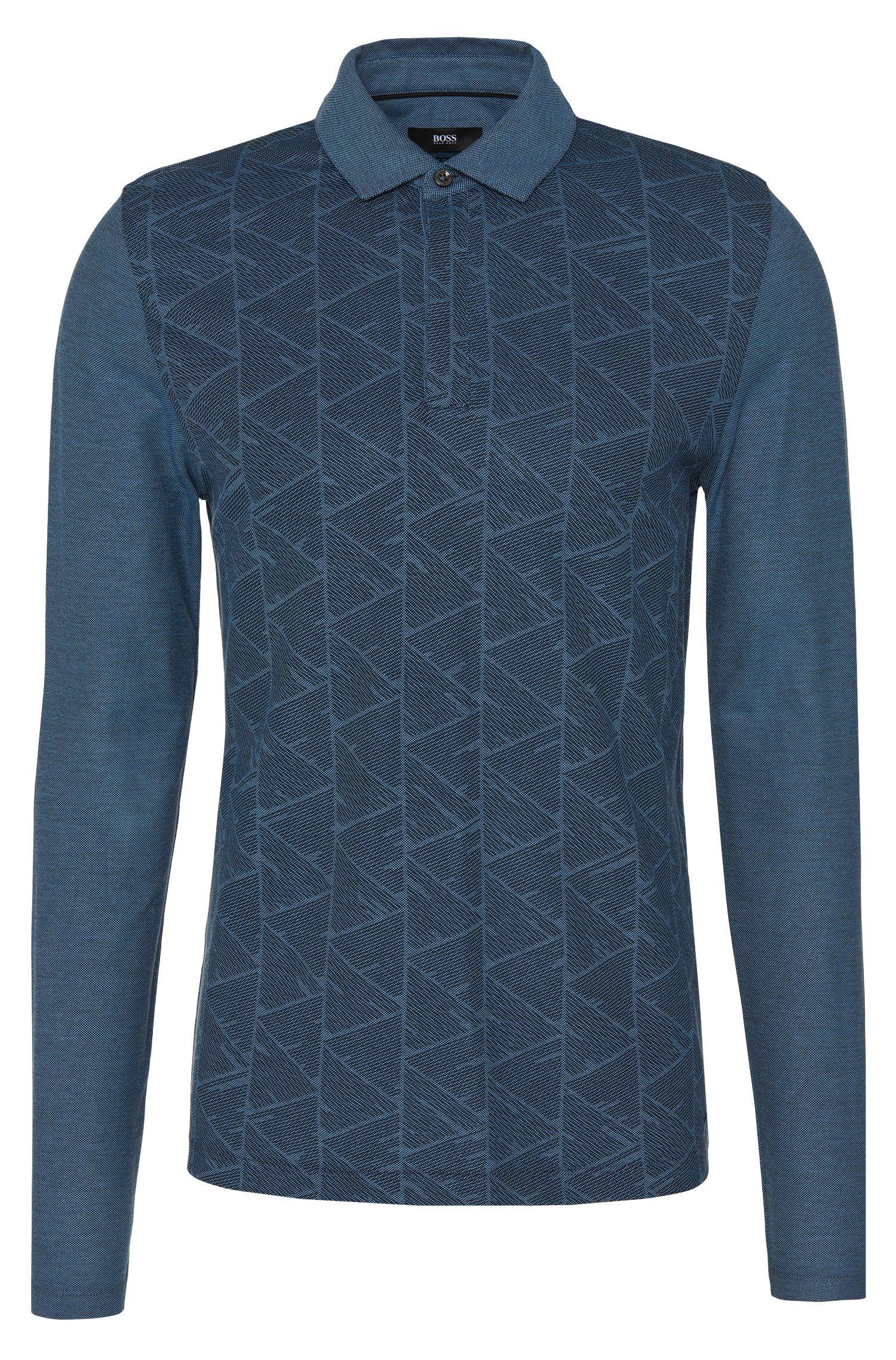 Slim-Fit Longsleeve-Poloshirt aus Baumwolle mit grafischem Muster: 'Prall 07'