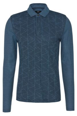 Slim-fit long-sleeved polo shirt in cotton with a graphic pattern: 'Prall 07', Dark Blue