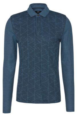 Slim-Fit Longsleeve-Poloshirt aus Baumwolle mit grafischem Muster: 'Prall 07', Dunkelblau