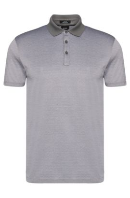 Patterned slim-fit polo shirt in cotton: 'Platt 03', White