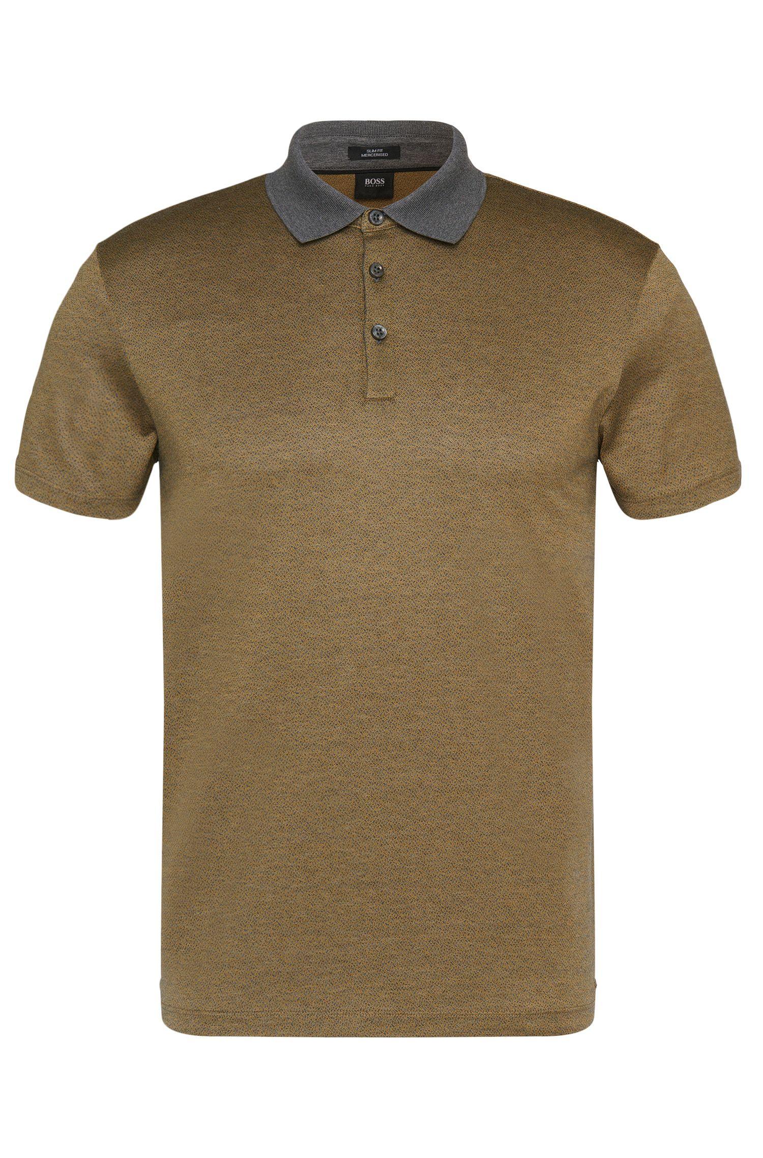 Gemustertes Slim-Fit Poloshirt aus Baumwolle: 'Platt 03'
