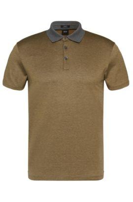 Gemustertes Slim-Fit Poloshirt aus Baumwolle: 'Platt 03', Khaki