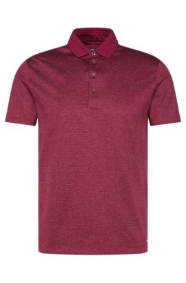 Polo Regular Fit en coton orné de lignes : « Pitton 06 », Violet foncé