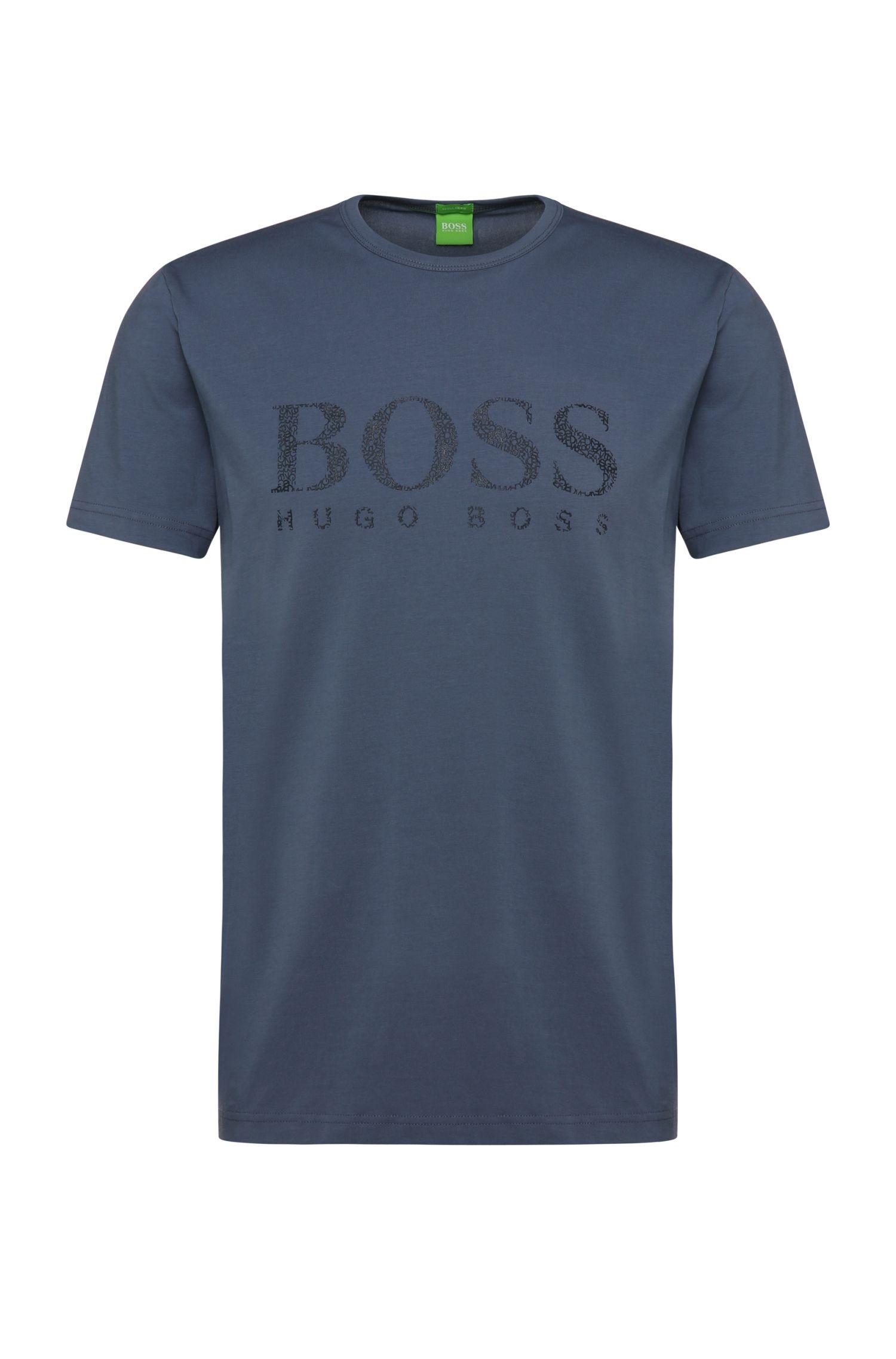 Regular-fit shirt van elastische katoen met logo: 'Tee 6'