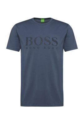 Regular-fit shirt van elastische katoen met logo: 'Tee 6', Lichtblauw