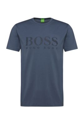 T-shirt logo Regular Fit en coton extensible: «Tee6», Bleu vif