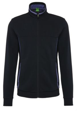 Regular-fit cotton sweat jacket:, Dark Blue
