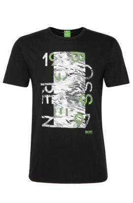 Camiseta regular fit en algodón con estampado: 'Tee 4', Negro