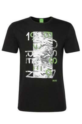 T-shirt Regular Fit en coton à imprimé : « Tee 4 », Noir