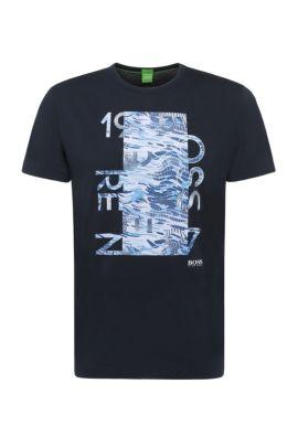 Regular-fit shirt van katoen met print: 'Tee 4', Donkerblauw