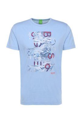 Regular-fit shirt van katoen met print: 'Tee 4', Lichtblauw