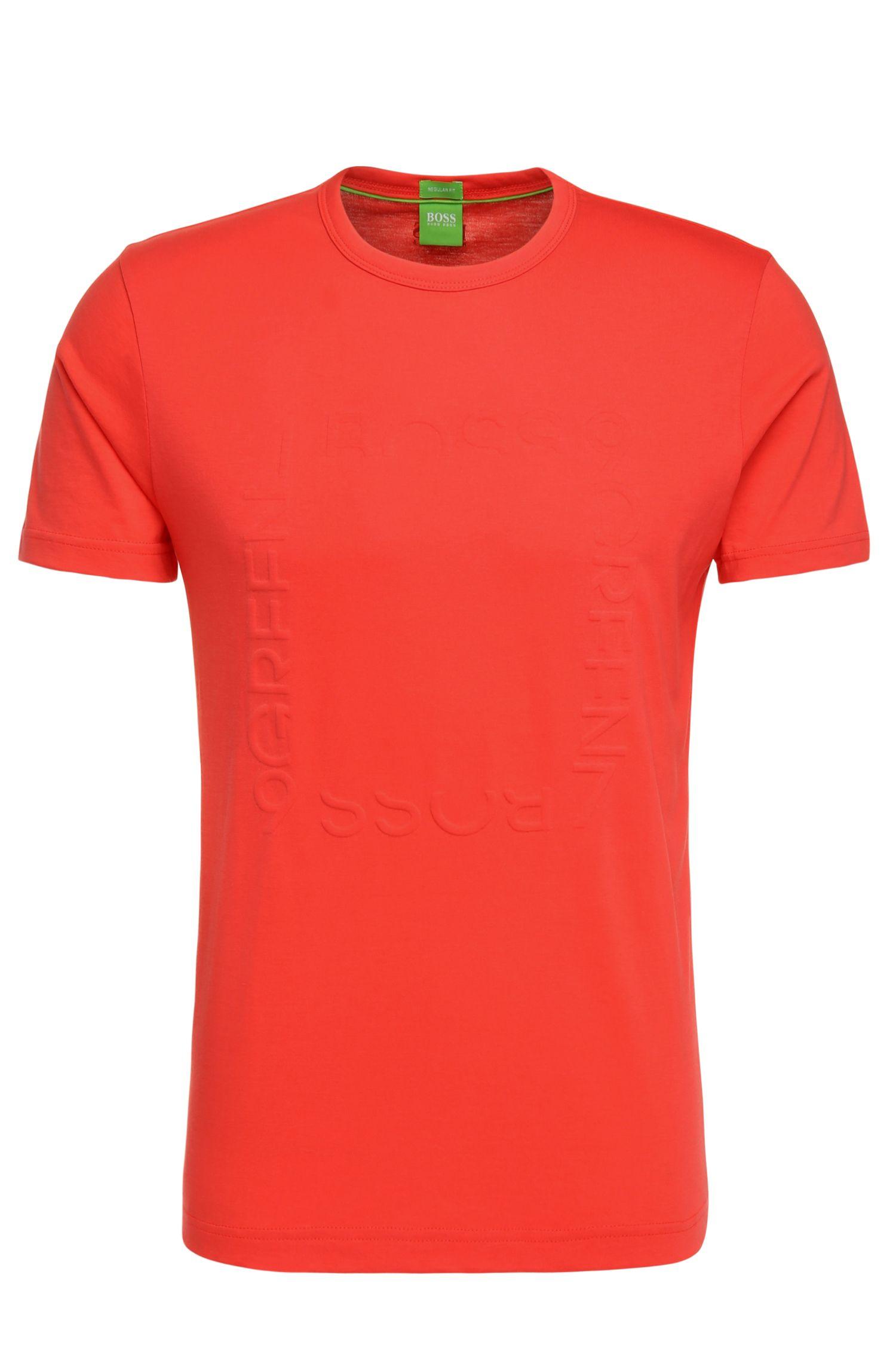 Regular-fit T-shirt van katoen met logoteksten: 'Tee 3'