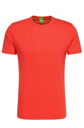 Regular-fit T-shirt van katoen met logoteksten: 'Tee 3', lichtrood