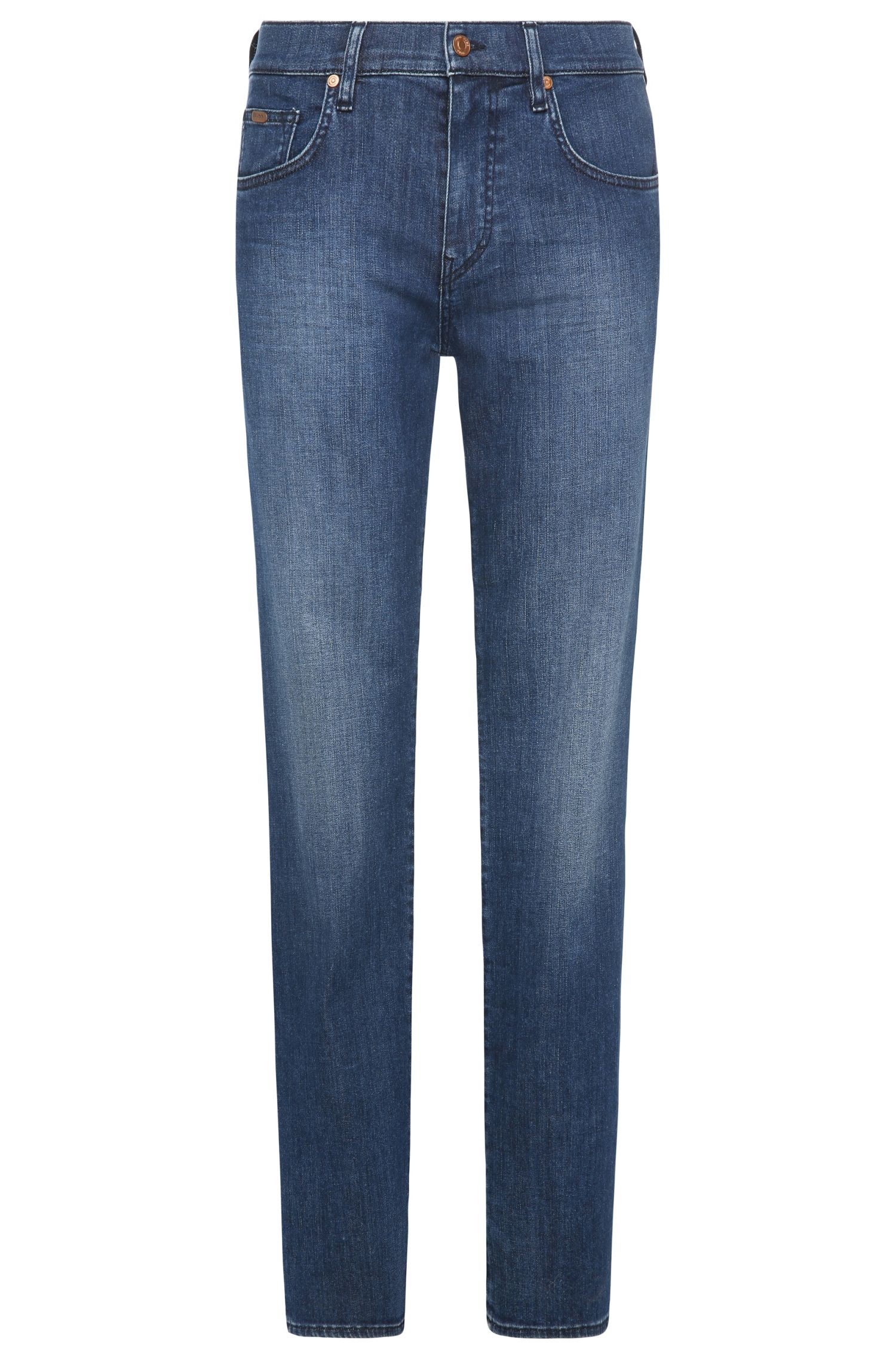 Relaxed-fit jeans in stretch cotton with wash: 'C-KANSAS'