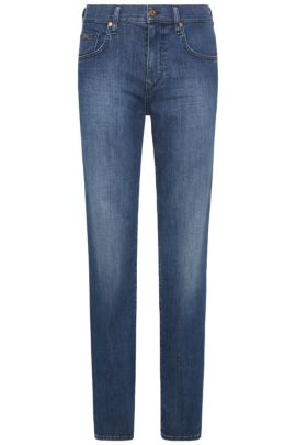 Relaxed-fit jeans in stretch cotton with wash: 'C-KANSAS', Blue