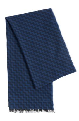 Scarf in viscose and new wool with zigzag pattern: 'Men-Z 502', Blue