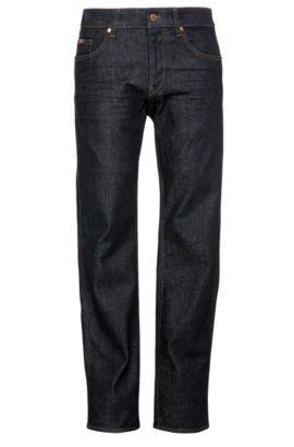 Slim-Fit Jeans aus texturierter Stretch-Baumwolle: ´C-DELAWARE1`, Dunkelblau