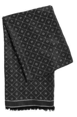 Scarf in cotton blend with all-over pattern: 'Women-Z 529', Black