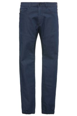 Tapered-fit jeans in stretchy cotton: 'Danyel', Dark Blue